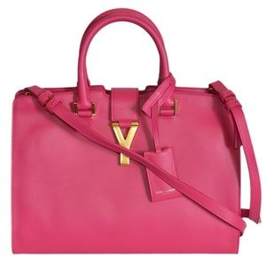 Pink Ysl Bag with Gold Y